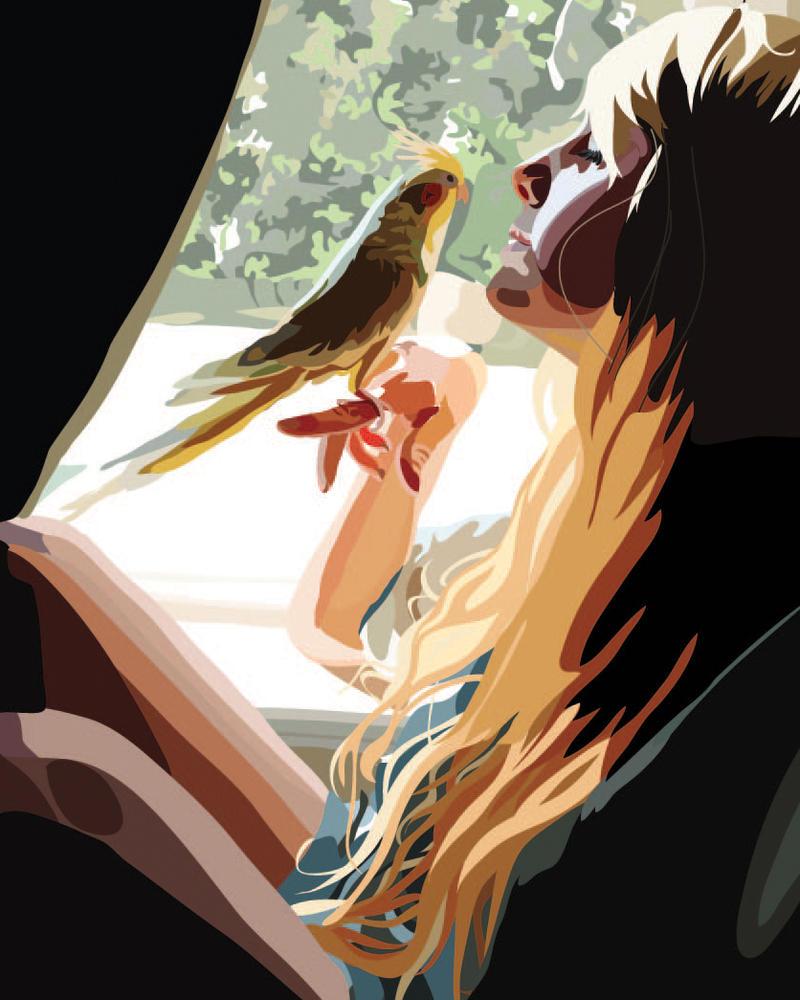 Girl with a bird Vector by nemmey