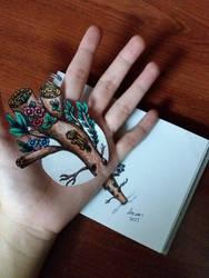 3D Trick Art - Tree Trunk Thru Hand by PrincessNurIman1