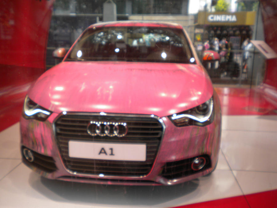 pink audi a1 leicester sq by coorosnowfox on deviantart. Black Bedroom Furniture Sets. Home Design Ideas