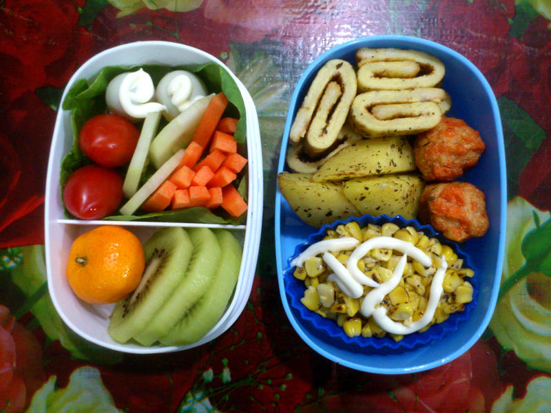 french toast roll corn bento by plainordinary1
