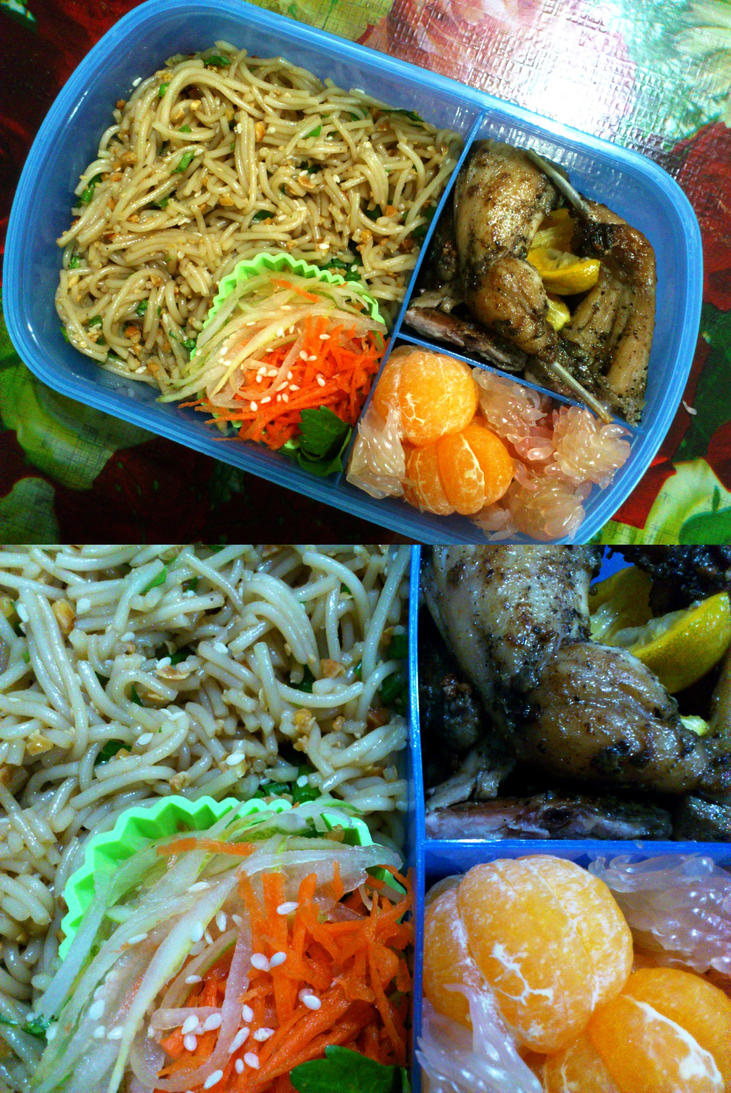 rice noodle quail orange bento by plainordinary1