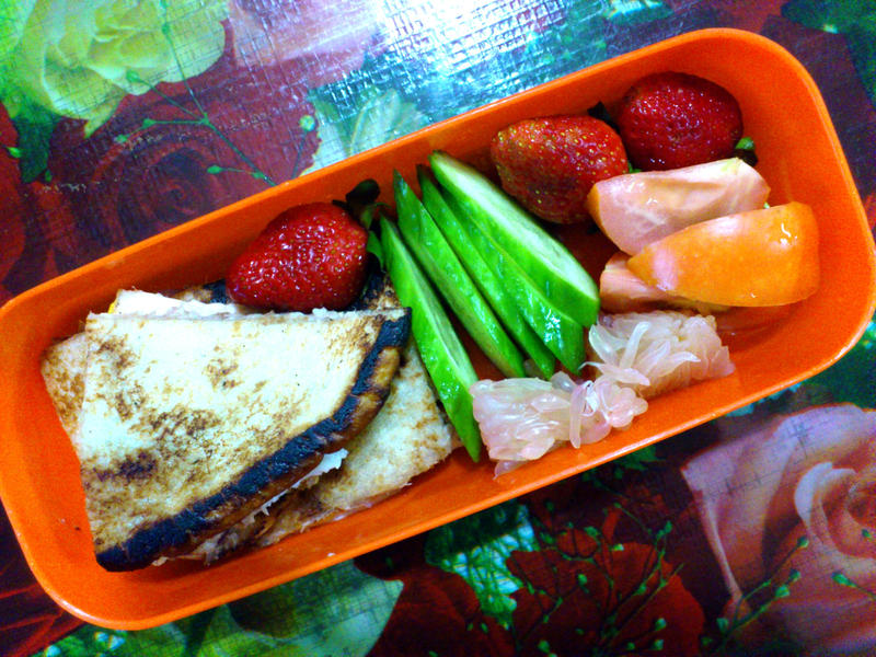 tuna cheese egg sandwich strawberry bento by plainordinary1