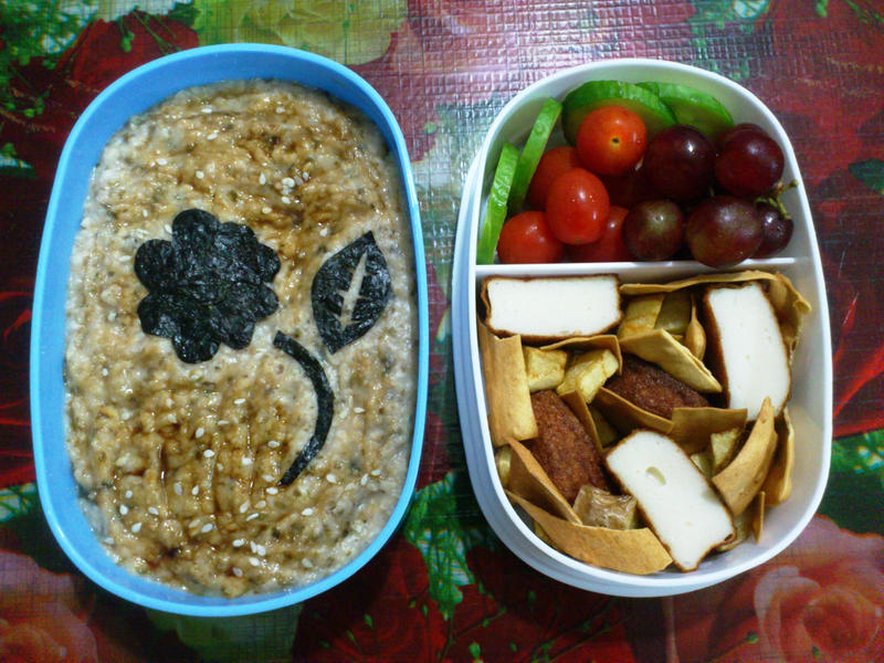 oatmeal tofu popadom grape bento by plainordinary1