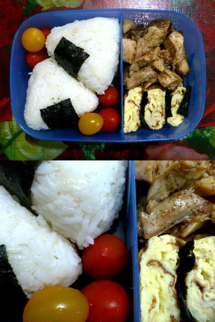chicken tamagoyaki onigiri bento by plainordinary1