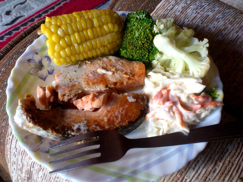 kopitiams salmon dish by plainordinary1