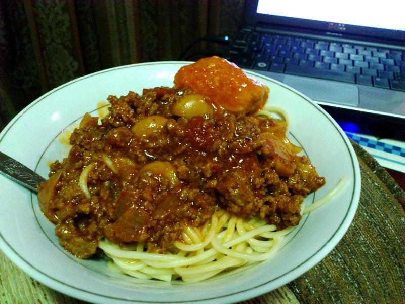 mushroom beef spaghetti by plainordinary1