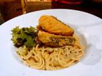 Salmon mushroom pasta