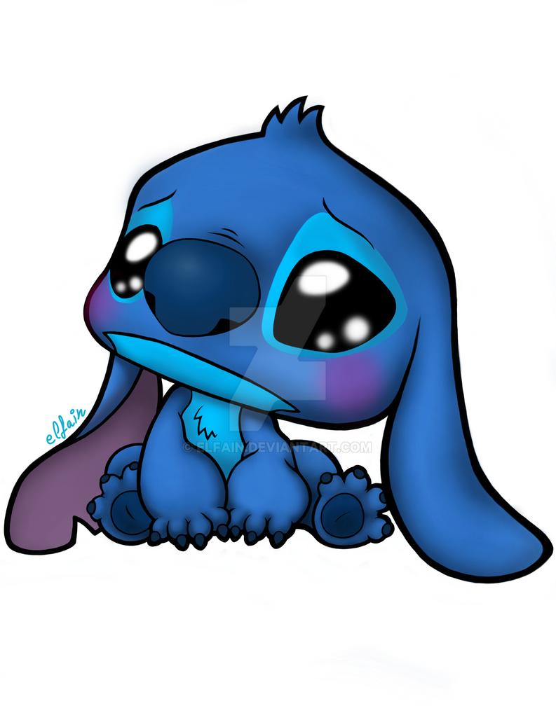 Cute Sad Stitch By Elfain