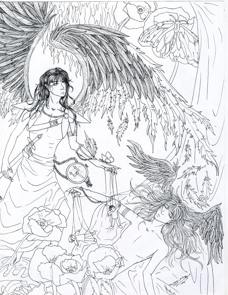 Thanatos and Hypnos by RainElegy