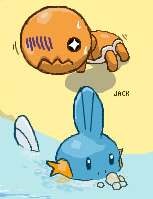 Trapinch + Mudkip at the Beach by 8BitJack