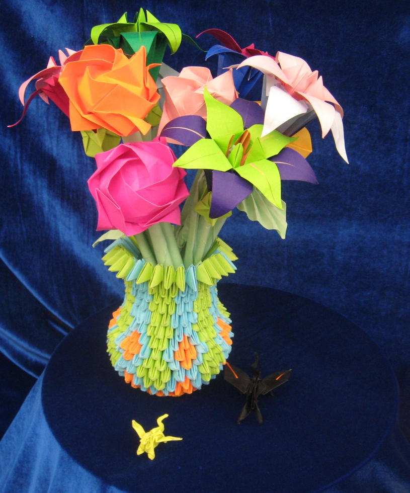 Origami flower vase and flower by landon104 on deviantart origami flower vase and flower by landon104 izmirmasajfo