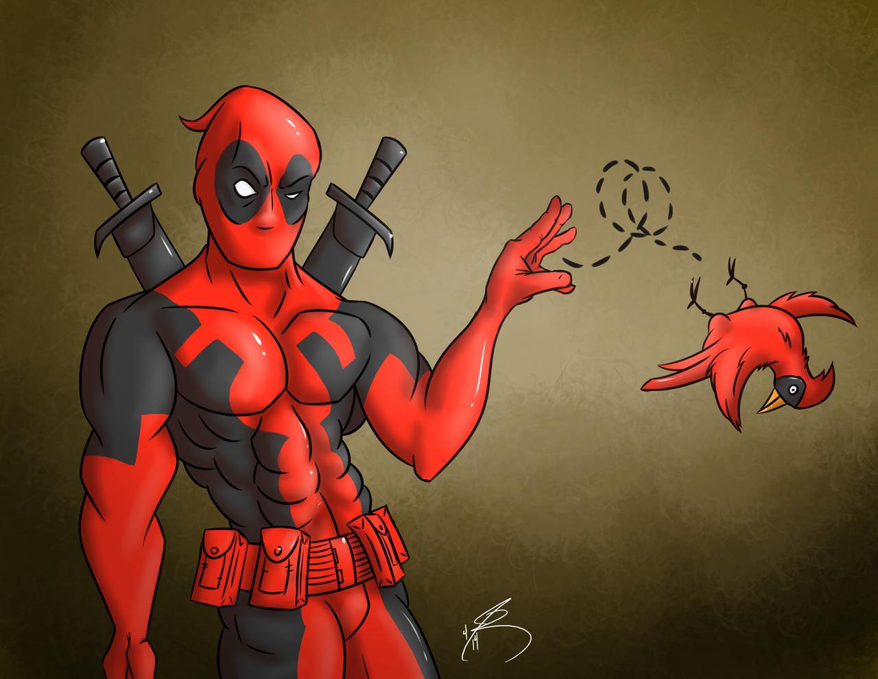 Deadpool Flipping the Bird by Johansrobot