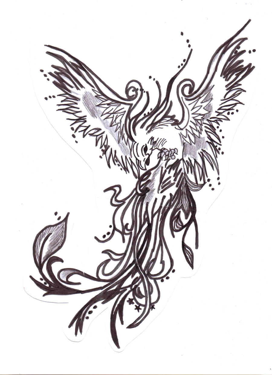 Black and white phoenix by mizzmelodic101