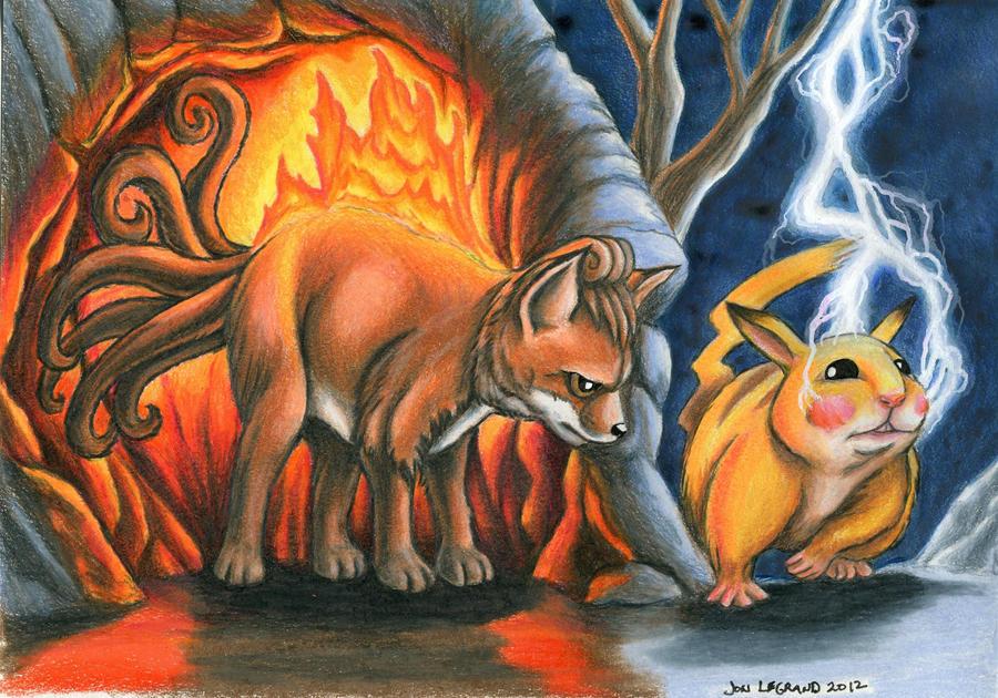 Vulpix and Pikachu for Y-uuki by Legrandzilla