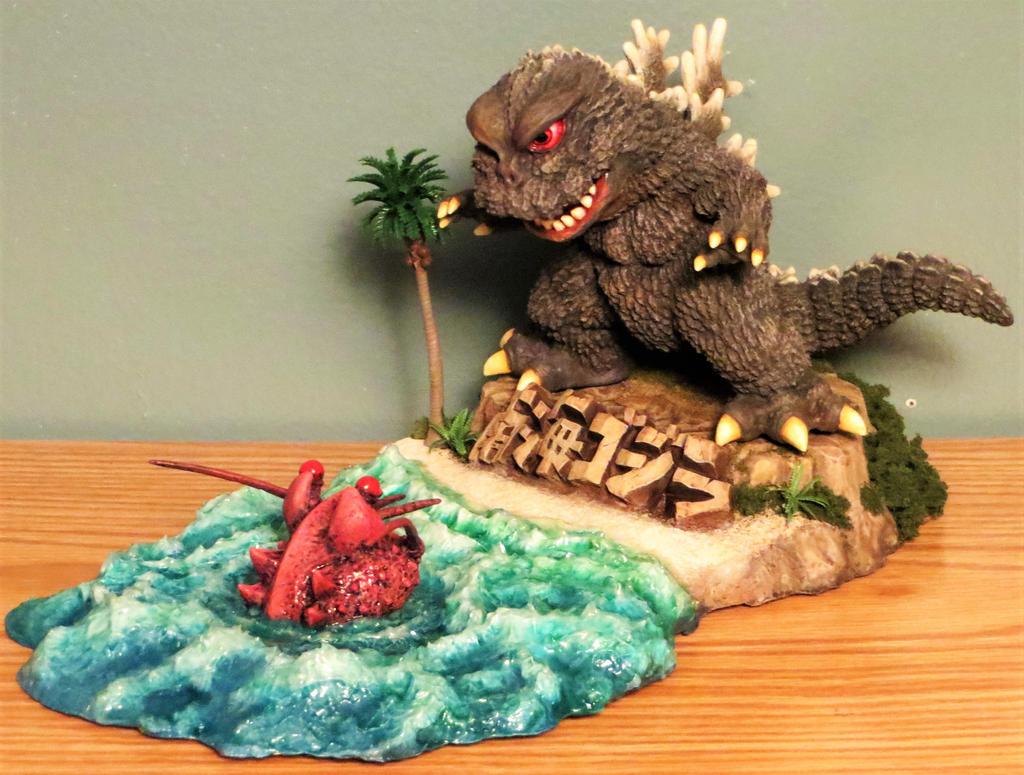Honey Bones Godzilla vs Ebirah SD Diorama Finished by Legrandzilla