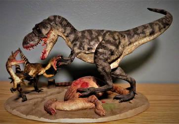 T-Rex vs Velociraptors Diorama for Sale! by Legrandzilla