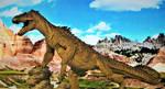 Rhedosaurus Concept in the Badlands by Legrandzilla