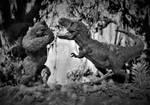Kong vs T-Rex Gray Scale