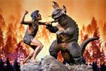 Frankenstein vs Baragon Diorama Finished 2 by Legrandzilla