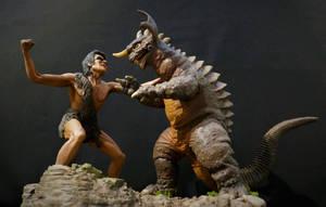 Frankenstein vs Baragon Diorama Finished