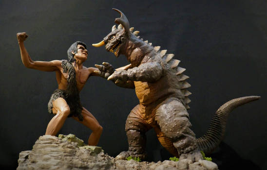 Frankenstein vs Baragon Diorama Finished