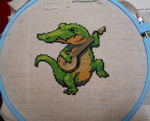 Alligator Playing Banjo by GetToTheLibrary