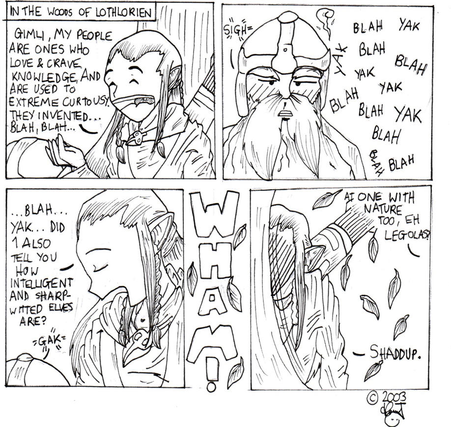legolas and Gimli in Lorien by cheesyhairball
