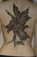 Fairy Back Tattoo by nonetoowise