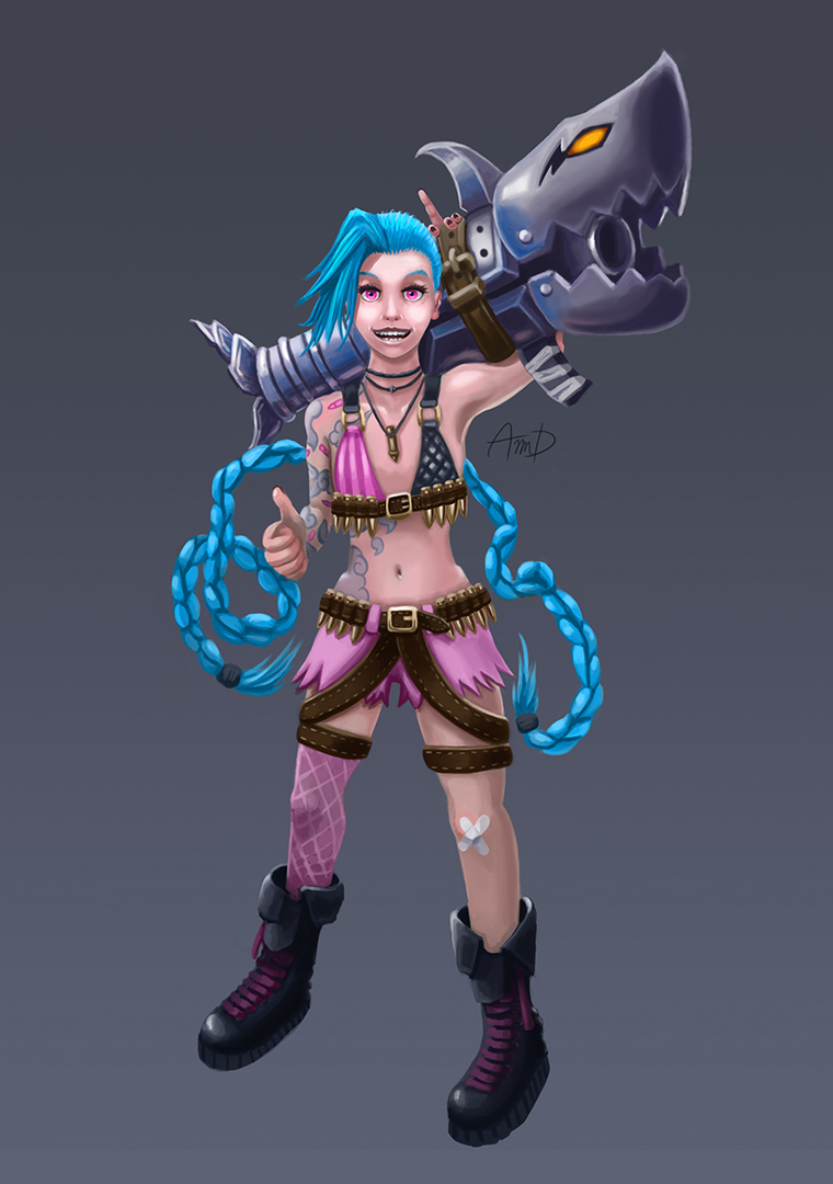 Character Design League Of Legends : Jinx character art league of legends by aimdiab on