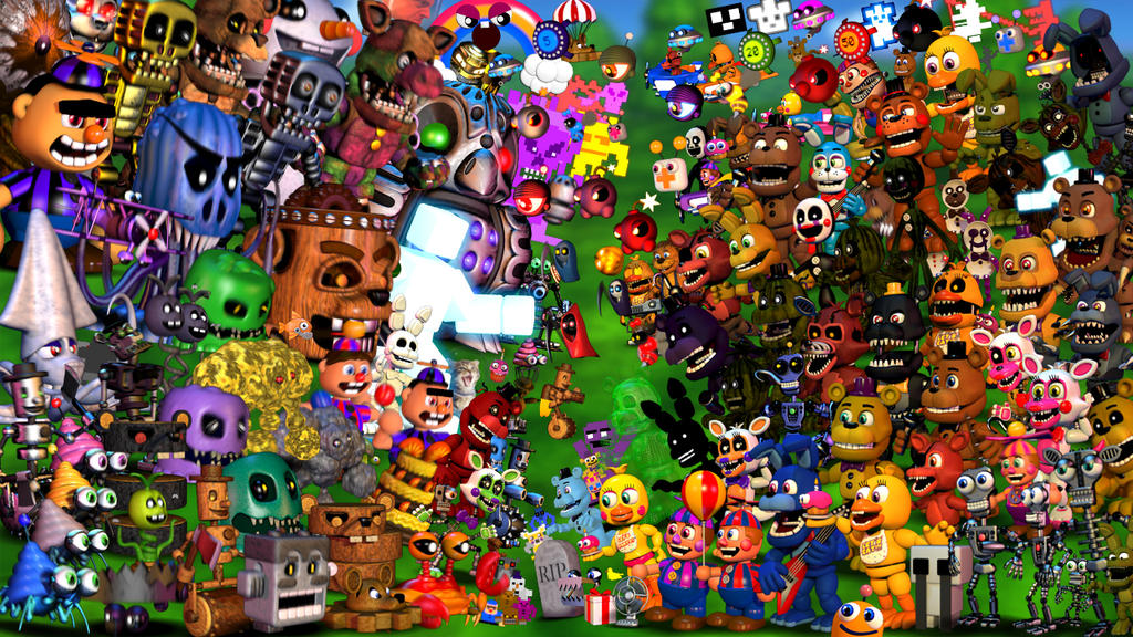 Fnaf world wallpaper with update 2 characters by joshuathevideoguy