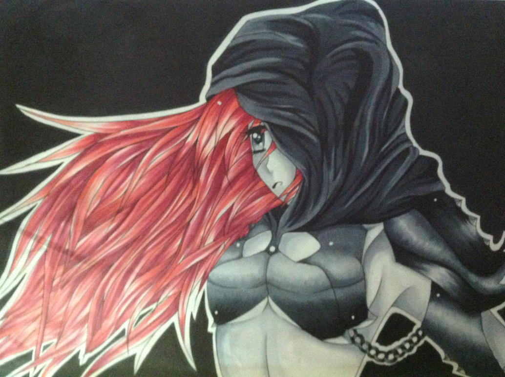 Black and white anime with red hair by animereddy on - Red and black anime ...