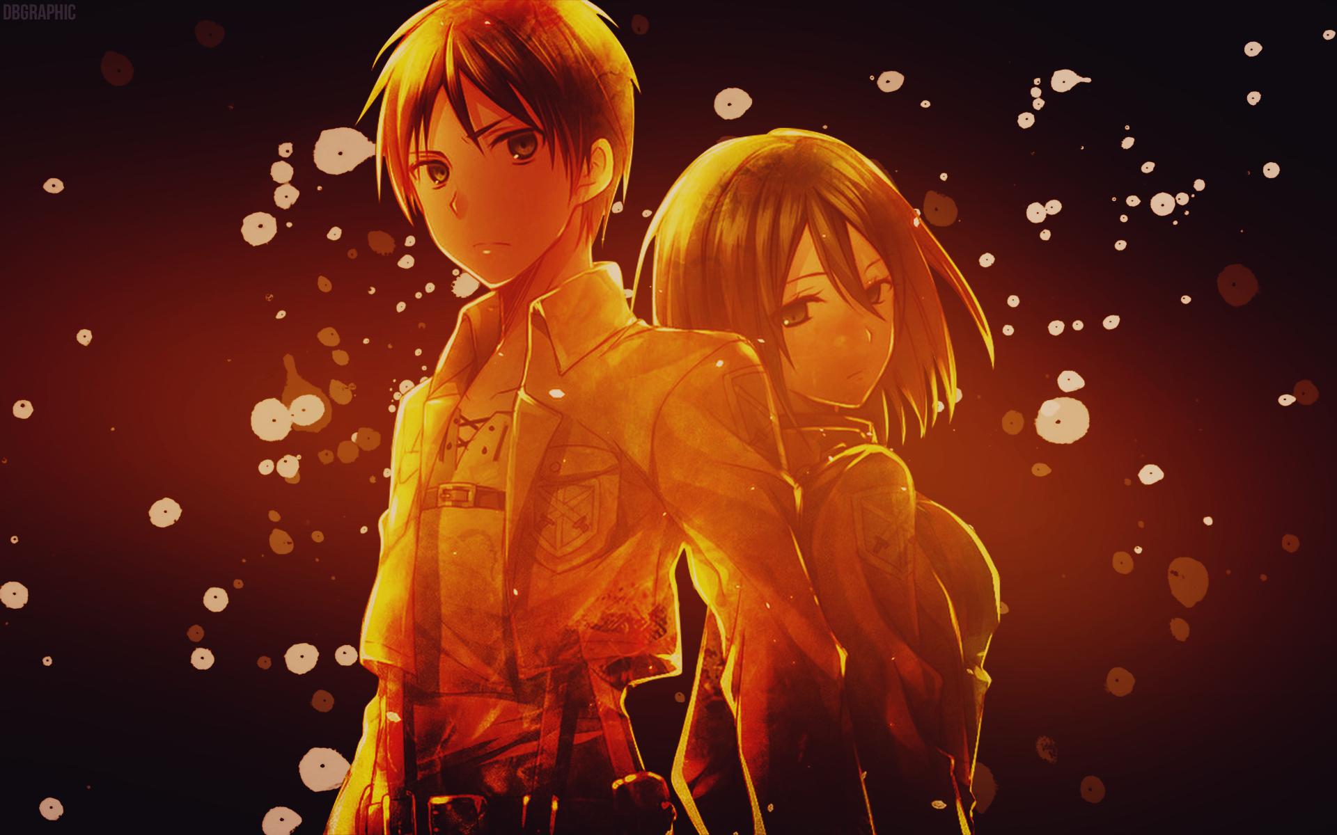 Shingeki No Kyojin Mikasa x Eren Wallpaper by DeathB00K