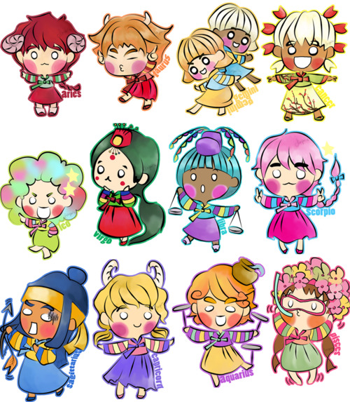 Anime Girl Zodiac Signs: Western Zodiac Chibi X Hanbok By Sukyan On DeviantArt