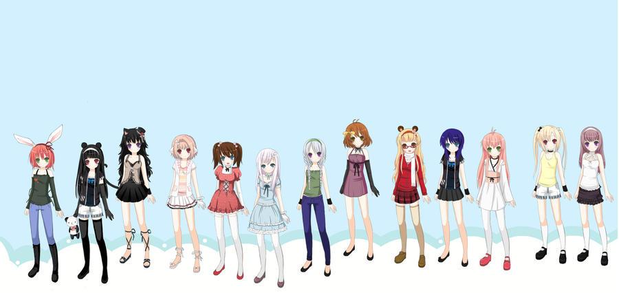 Много рисунков аниме девушек