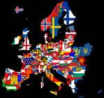 European Flags in a map