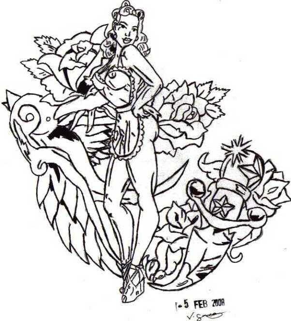 pinup girl style tattoo by animevik on DeviantArt
