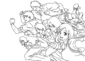 Bleach: School Group Lineart