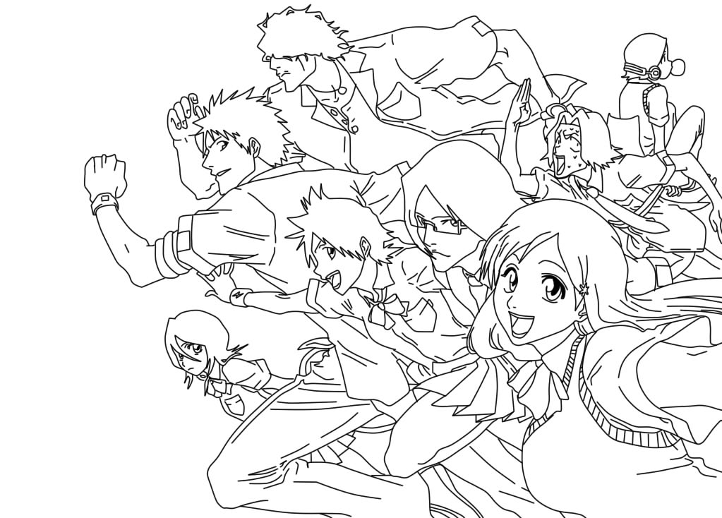 Line Art Group : Bleach school group lineart by annamae on deviantart