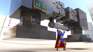 Supergirl lifts a heavy weight