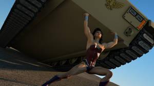 Wonder Woman lifts a tank