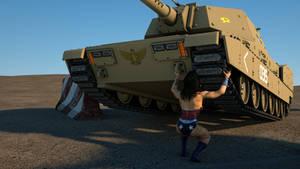 Wonder Woman picks up a tank
