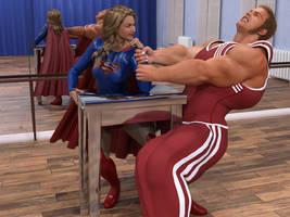 Supergirl arm wrestling by DahriAlGhul