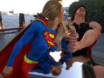 Supergirl demonstrates her strength in public
