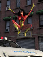 Spider-Woman vs Two Cops 20 by DahriAlGhul