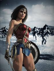Wonder Woman at Normandy Beach