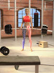 Eva lifting a heavy barbell