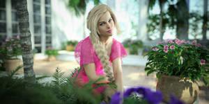 Rachel in her winter garden