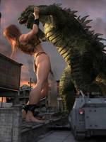 Giganta fights Godzilla: Frame 1, View 2 by DahriAlGhul
