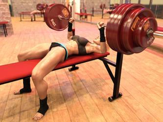 Girl benchpresses 270 kg: hi-res frame 2 by DahriAlGhul