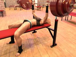 Girl benchpresses 270 kg: hi-res frame 1 by DahriAlGhul